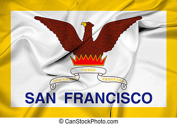 Waving Flag of San Francisco, California