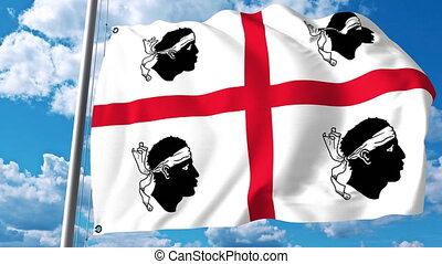 Waving flag of Sardinia a region of Italy - Waving flag of...