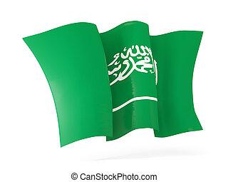 Waving flag of saudi arabia. 3D illustration