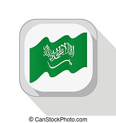 Waving flag of Saudi Arabia on the button. Vector illustration.