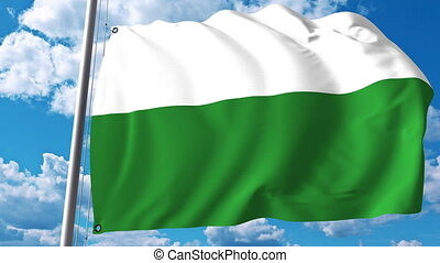 Waving flag of Saxony a state of Germany
