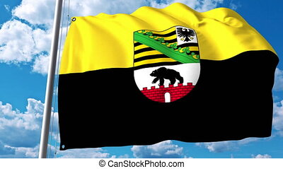 Waving flag of Saxony-Anhalt a state of Germany - Waving...