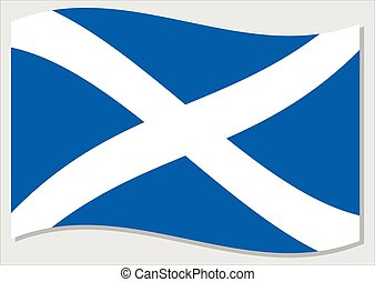 Waving flag of Scotland vector graphic. Waving Scottish flag illustration. Scotland country flag wavin in the wind is a symbol of freedom and independence.