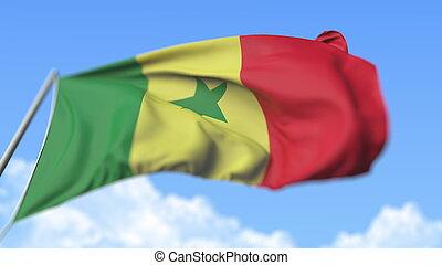 Waving flag of Senegal, low angle view. 3D rendering
