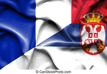 Waving flag of Serbia and France