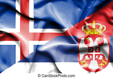Waving flag of Serbia and Iceland