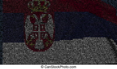 Waving flag of Serbia made of text symbols on a computer...