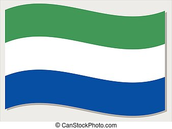Waving flag of Sierra Leone vector graphic. Waving Sierra Leonean flag illustration. Sierra Leone country flag wavin in the wind is a symbol of freedom and independence.