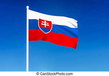 Waving flag of Slovakia on the blue sky background