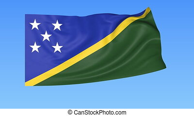 Waving flag of Solomon Islands, seamless loop. Exact size, blue background. Part of all countries set. 4K ProRes with alpha