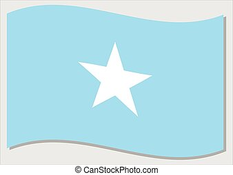 Waving flag of Somalia vector graphic. Waving Somali flag illustration. Somalia country flag wavin in the wind is a symbol of freedom and independence.