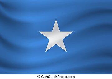 Waving flag of Somalia. Vector illustration