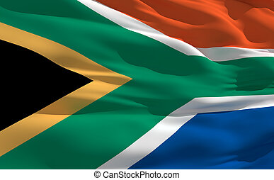 Waving flag of South Africa - Fluttering flag of South...