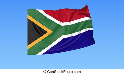Waving flag of South Africa, seamless loop. Exact size, blue background. Part of all countries set. 4K ProRes with alpha