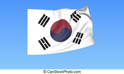 Waving flag of South Korea, seamless loop. Exact size, blue...