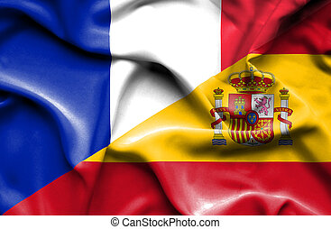 Waving flag of Spain and France