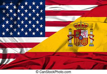 Waving flag of Spain and USA