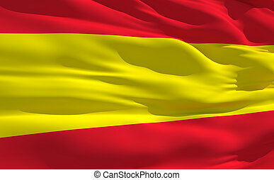 Waving flag of Spain - Fluttering flag of Spain on the wind