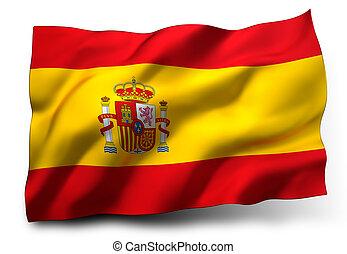 flag of Spain - Waving flag of Spain isolated on white ...