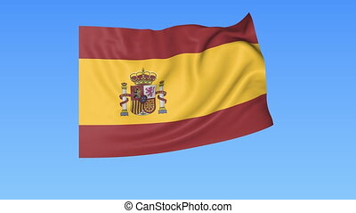Waving flag of Spain, seamless loop. Exact size, blue background. Part of all countries set. 4K ProRes with alpha