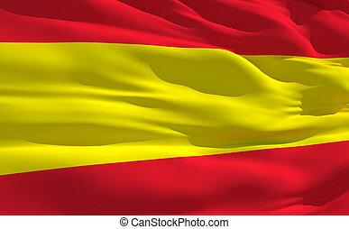 Waving flag of Spain - Fluttering flag of Spain on the wind