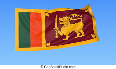Waving flag of Sri Lanka, seamless loop. Exact size, blue background. Part of all countries set. 4K ProRes with alpha