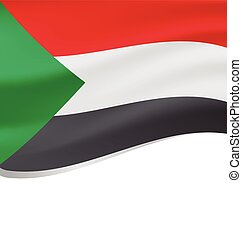 Waving flag of Sudan isolated on white