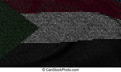 Waving flag of Sudan made of text symbols on a computer...