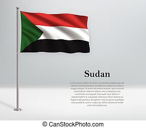 Waving flag of Sudan on flagpole. Template for independence day