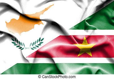 Waving flag of Suriname and