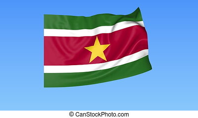 Waving flag of Suriname, seamless loop. Exact size, blue background. Part of all countries set. 4K ProRes with alpha