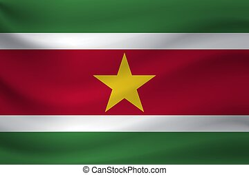 Waving flag of Suriname. Vector illustration
