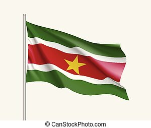 Waving flag of Suriname - Waving flag of republic Suriname....