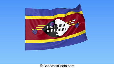 Waving flag of Swaziland, seamless loop. Exact size, blue background. Part of all countries set. 4K ProRes with alpha
