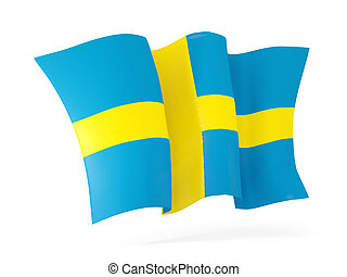 Waving flag of sweden. 3D illustration