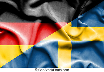 Waving flag of Sweden and Germany