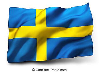 flag of Sweden - Waving flag of Sweden isolated on white ...
