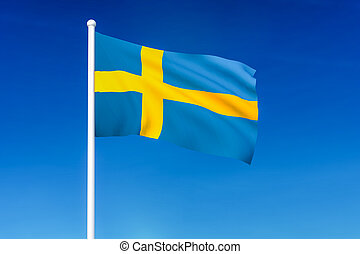 Waving flag of Sweden on the blue sky background