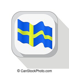 Waving flag of Sweden on the button. Vector illustration.