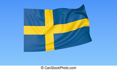 Waving flag of Sweden, seamless loop. Exact size, blue...