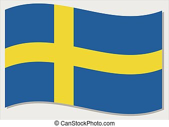 Waving flag of Sweden vector graphic. Waving Swedish flag illustration. Sweden country flag wavin in the wind is a symbol of freedom and independence.