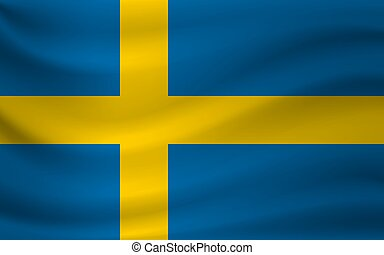 Waving flag of Sweden. Vector illustration
