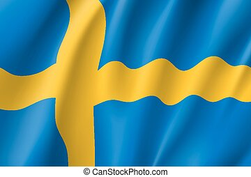 Waving flag of Sweden