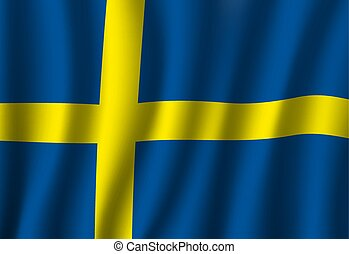 Waving flag of Sweden with yellow cross on blue