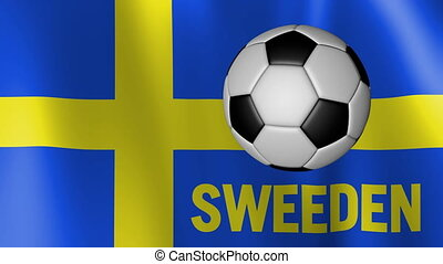 Waving Flag of Sweeden with European football rotating