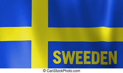 Waving Flag of Sweeden with title