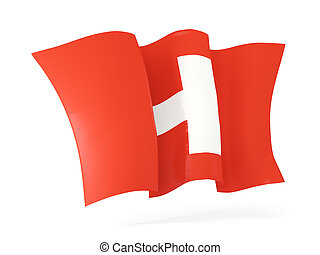 Waving flag of switzerland. 3D illustration