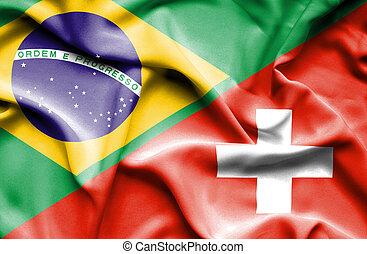 Waving flag of Switzerland and Brazil