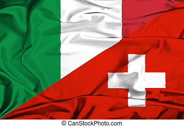 Waving flag of Switzerland and Italy
