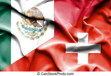 Waving flag of Switzerland and Mexico